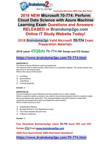 [2018-February-Version]New 70-774 Dumps with PDF and VCE 45Q&As Free Share(27-33)