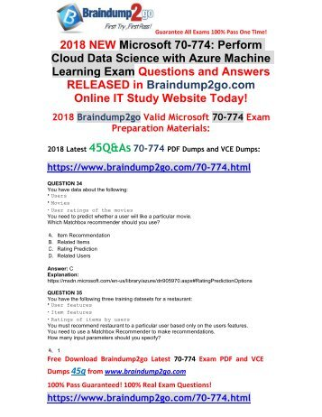 [2018-February-Version]New 70-774 PDF and 70-774 VCE Dumps 45Q&As Free Share(34-48)