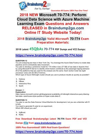 [2018-February-Version]New 70-774 PDF and VCE Dumps 45Q&As Free Share(12-18)