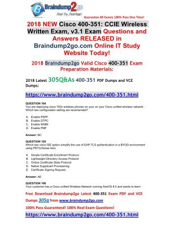 [2018-February-Version]New 400-351 PDF and VCE Dumps 305Q&As Free Share(104-114)