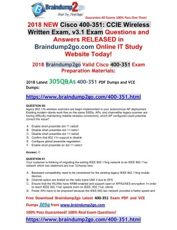 [2018-February-Version]New 400-351 VCE and PDF Dumps 305Q&As Free Share(60-70)