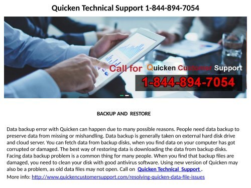 Quicken Tech Support Number 1-844-894-7054