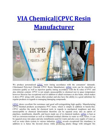 CPE, HCPE, CPVC Resin Raw Material Manufacturer in China