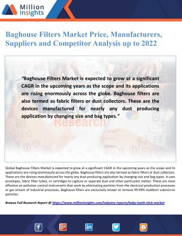 Baghouse Filters Market Price, Manufacturers, Suppliers and Competitor Analysis up to 2022