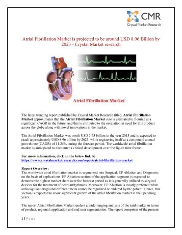 Atrial Fibrillation Market worth USD 8.96 Billion By 2023 - Crystal Market research