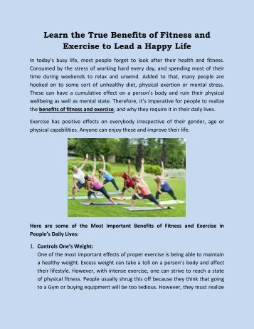 Learn the True Benefits of Fitness and Exercise to Lead a Happy Life