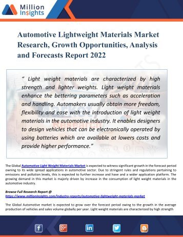 Automotive Lightweight Materials Market Overview with detailed analysis, Competitive landscape Forecast 2022