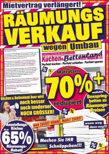 Räumungsverkauf bei Küchen- und Bettenland Auer in Neuenmarkt bei Kulmbach - Schnäppchen, Rabatte, zuschlagen!