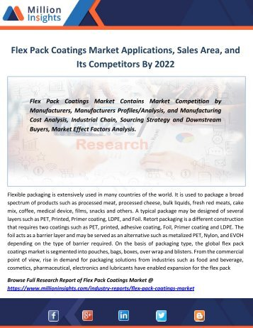 Flex Pack Coatings Market Applications, Sales Area, and Its Competitors By 2022