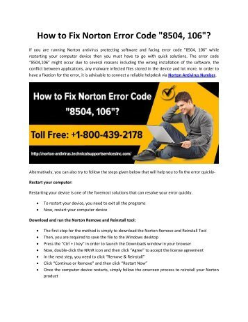 "How to Fix Norton Error Code ""8504, 106""?"