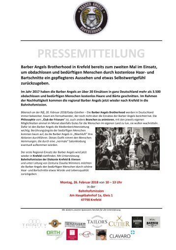 Barber Angels nachhaltig in Krefeld am 26. Februar 2018