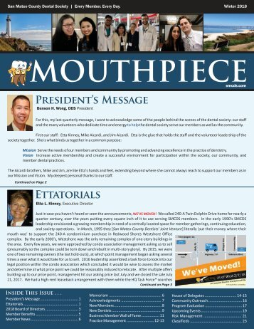 2017 Winter SMCDS Mouthpiece Newsletter