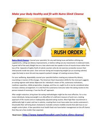 Build your Lean Muscle Mass with Nutra SlimX Cleanse