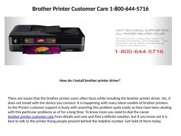 Brother printer tech support 18006445716