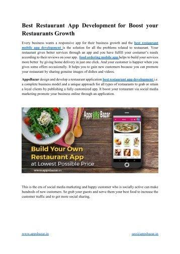 Best Restaurant App Development for Boost your Restaurants Growth