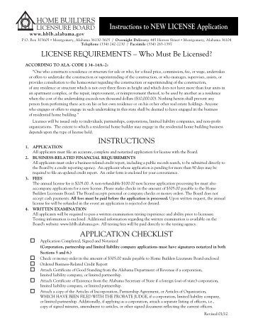 Application for NEW LICENSE - Alabama Home Builders Licensure ...