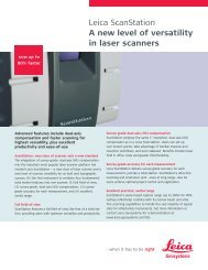 Leica ScanStation A new level of versatility in laser scanners