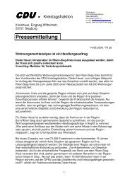 Pressemitteilung - CDU Fraktion Rhein-Sieg