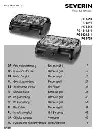 Severin PG 8511 Gril barbecue - Istruzioni d'uso