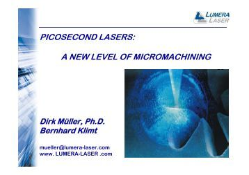 picosecond lasers: a new level of micromachining - RPMC Lasers