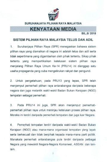 KM_Bil.8.2018 - Sistem Pilihan Raya di Malaysia Telus Dan Adil
