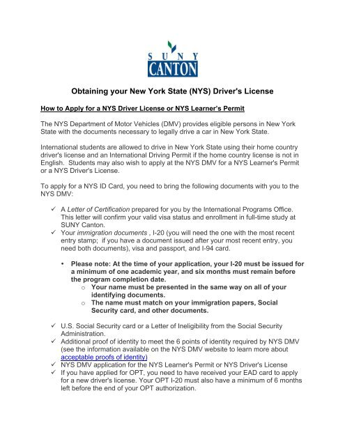 Obtaining your New York State (NYS) Driver's License - SUNY