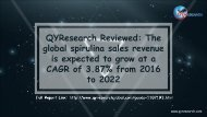 QYResearch Reviewed: The global spirulina sales revenue is expected to grow at a CAGR of 3.87% from 2016 to 2022