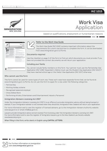 Work Visa Application (INZ 1015) - New Zealand Immigration Service