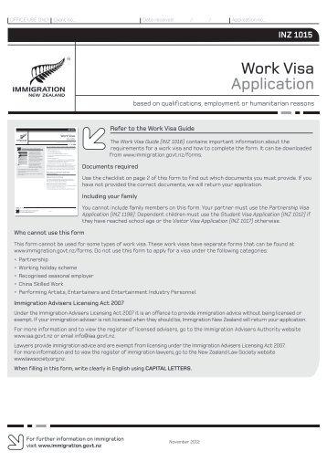 Work Visa Application (INZ 1015) - New Zealand Immigration Service