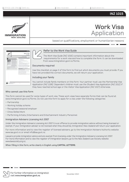 Work Visa Application Inz 1015 New Zealand Immigration Service