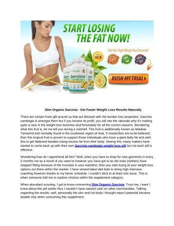 Slim Organix Garcinia - Cut Out Cravings And Burn Fat!