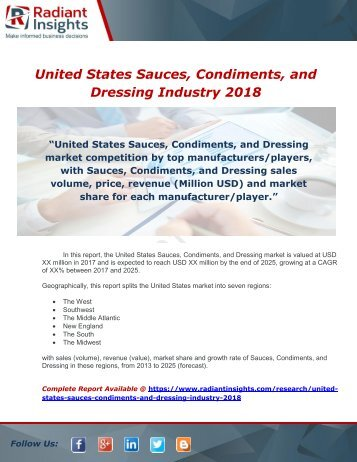 United States Sauces, Condiments, and Dressing Industry 2018 Market Research Report