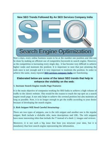 New SEO Trends Followed By An SEO Services Company India