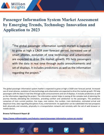 Passenger Information System Market Assessment by Emerging Trends, Technology Innovation and Application to 2023