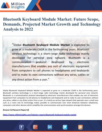 Bluetooth Keyboard Module Market- Future Scope, Demands. Projected Market Growth and Technology Analysis to 2022