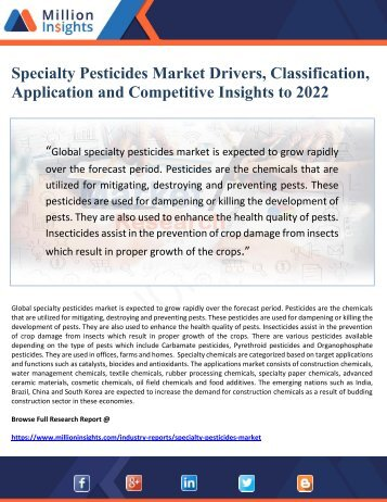 Specialty Pesticides Market Drivers, Classification, Application and Competitive Insights to 2022