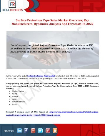 Surface Protection Tape Sales Market Overview, Key Manufacturers, Market Dynamics, Analysis And Forecasts To 2022