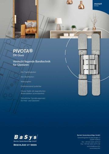 """""""PIVOTA DX Glass"""": Versteckte Beschlagtechnik für Glastüren (Produktbroschüre)"""