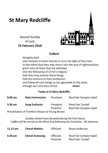 St Mary Redcliffe Church Pew Leaflet - February 25 2018