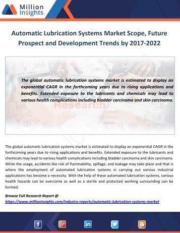 Automatic Lubrication Systems Market Scope, Future Prospect and Development Trends by 2017-2022