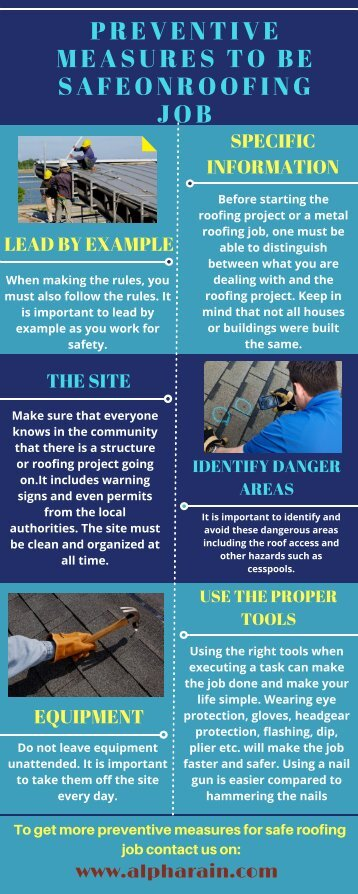 PREVENTIVE MEASURES TO BE SAFE ON ROOFING JOB