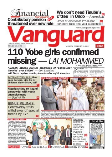 26022018 - 110 Yobe girls confirmed missing — LAI MOHAMMED