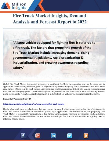 Fire Truck Market Insights, Demand Analysis and Forecast Report to 2022