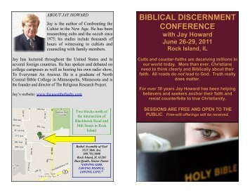 BIBLICAL DISCERNMENT CONFERENCE with Jay Howard June ...
