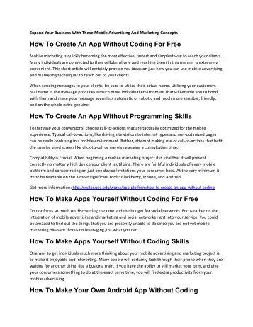 How To Make Apps Yourself Without Coding Skills?