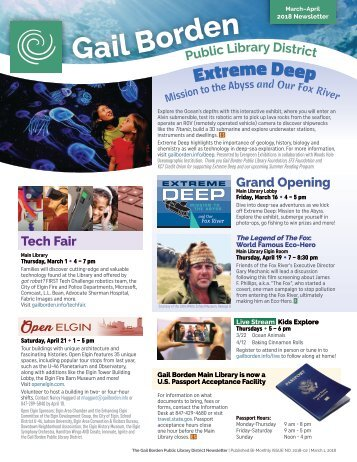 March April 2018 Gail Borden Public Library Newsletter