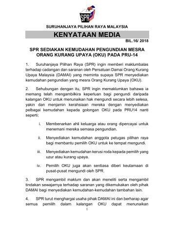 KM_Bil.16.2018 SPR SEDIAKAN KEMUDAHAN PENGUNDIAN MESRA ORANG KURANG UPAYA (OKU) PADA PRU-14