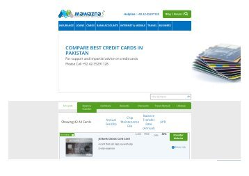 compare best credit cards pakistan