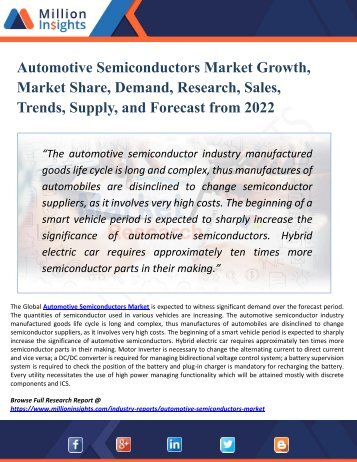 Automotive Semiconductors Market 2022 Share, Growth, Region Wise Analysis of Top Players, Application, Driver, Existing Trends