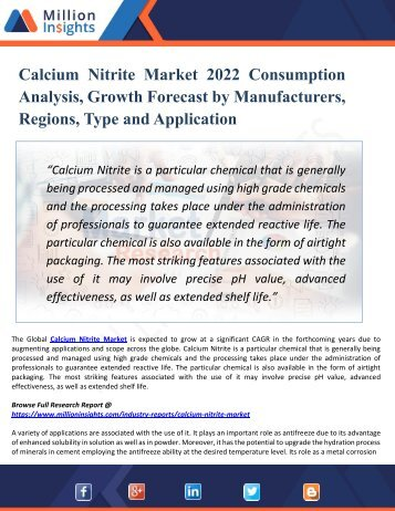 Calcium Nitrite Industry: 2022 Global Market Growth, Trends, Share and Demands Research Report